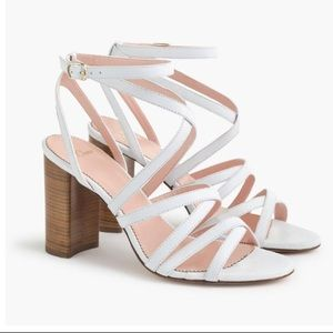 J. Crew Stella Heels in White Leather, sz 9